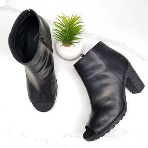 Timberland Tillston Peep Toe Black Ankle Booties